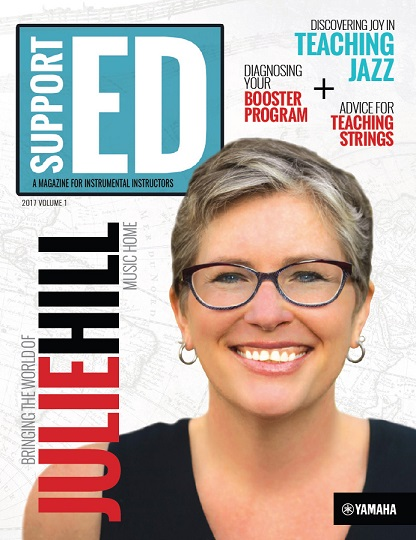 cover of the 2017v1 issue of SupportED featuring percussionist Julie Hill