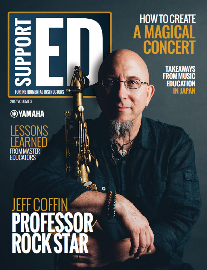 cover of the 2017v3 issue of SupportED featuring saxophonist Jeff Coffin